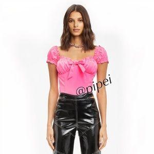 NWT I.M.GIA Naomi Crop Top Blouse in Neon Pink XS